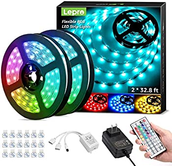 Lepro 65.6ft LED Strip Lights Ultra-Long RGB 5050 LED Strips with Remote Controller and Fixing Clips Color Changing Tape Light with 24V ETL Listed Adapter for Bedroom Room Kitchen Bar 32.8FTX 2