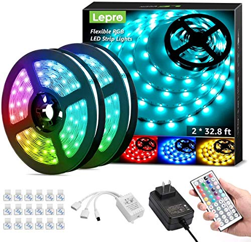 Lepro 65.6ft LED Strip Lights, Ultra-Long RGB 5050 LED Strips with Remote Controller and Fixing...