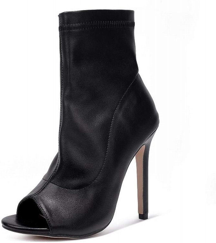 Lieyliso Damenstiefel Wild schwarz Fish Mouth Roman Stiefelies Stiefelies Stiefelies (Farbe   schwarz, Größe   36)  319e26
