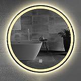 YZJJ Espejo de baño LED Redondo, Espejo de Maquillaje de tocador de Pared sin Marco con Luces Dobles, antiniebla,...