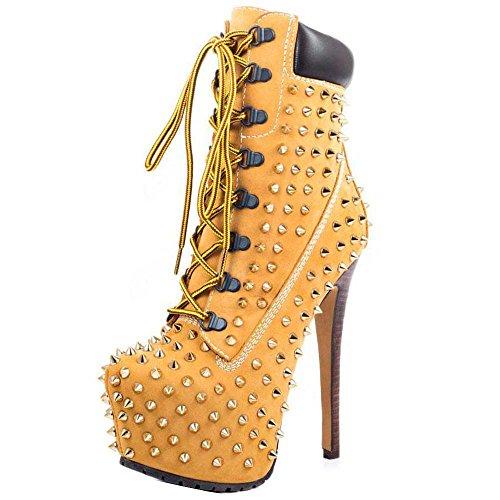 Onlymaker Damen Stiefel Pumps Boots Kurzschaft Stiefeletten Zehenkappe High Heels mit Nieten Beige EU35