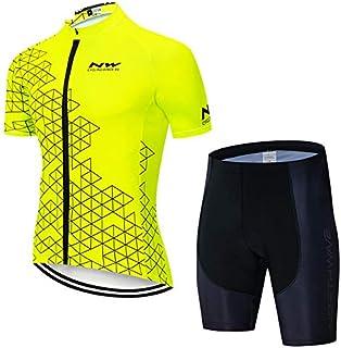 MMSM /À Manches Courtes D/ét/é pour Hommes /à V/élo Costumes Set Jersey Cyclisme avec 5D Gel Rembourr/ées Shorts Cuissard pour Tous Les Niveaux De VTT Cycliste De D/ébutant /à Pro Red 3XL