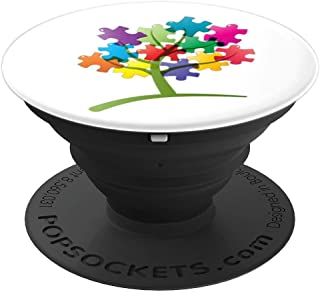Autism Awareness Puzzle Tree White Background - PopSockets Grip and Stand for Phones and Tablets