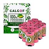 Bolsas de basura biodegradables e higiénicas para caca y heces de perro. 12 Rollos perfumados, compostables y ecológicos para residuos y excrementos de mascotas (180 uds.). Muy resistentes (rosa)