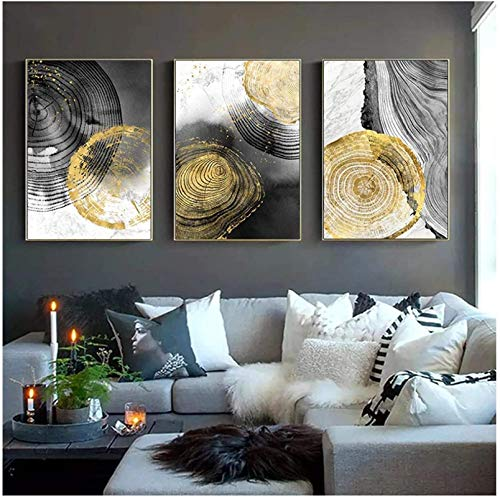 XMYC Nordic style Black Ink Annual Ring Abstract Poster Nordic Print Minimalist Picture Living Room Home Decor3 piece 15.7x23.6in(40x60cm) no frame