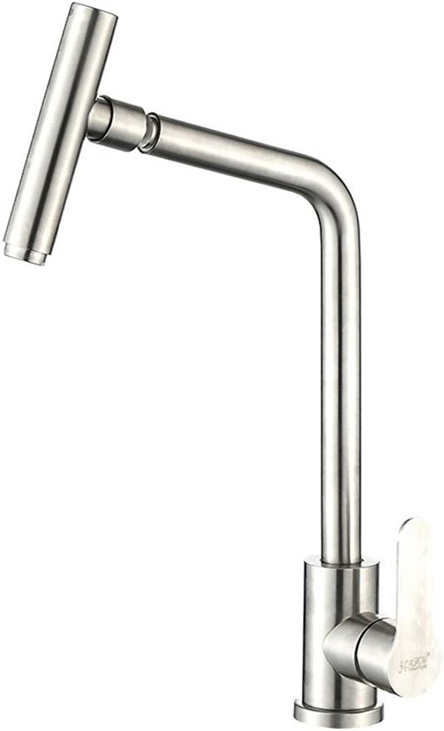 Modern Commercial 360 Degree Swivel Stainless Steel Brushed Nickel Kitchen Faucet, Single Handle Kitchen Sink Faucet with