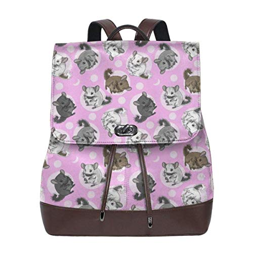 Schulrucksack, Chinchillas Moon Medium Pink Women Backpack for Travel Shopping Casual Laptop Leather Versatile Shoulder Bag