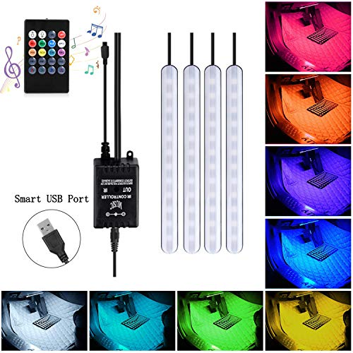 ABelle USB LED Streifen Auto Innenbeleuchtung Musik Sync Underdash 5050 SMD 5V LED Lichtleiste RGB Wasserdicht LED Stripes für LKW Van Lorry Jeep Motorrad