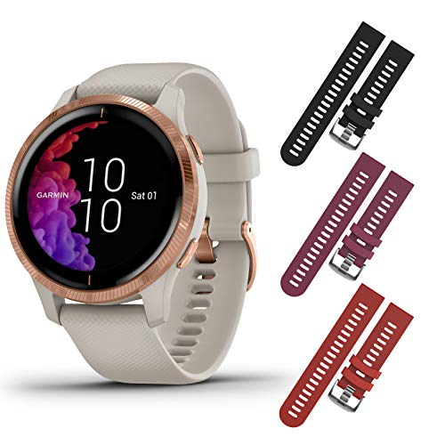 Garmin Venu GPS Smartwatch with AMOLED Display and Included Wearable4U 3 Straps Bundle (Light Sand/Rose Gold, Black/Berry/Red)