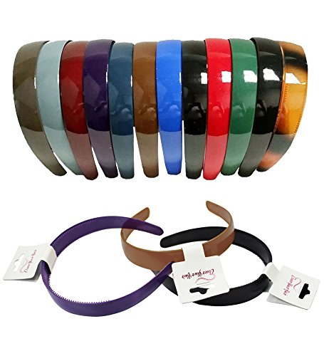 CoverYourHair Plastic Hairbands - Hard Headbands - 12 Pack Dark Colors
