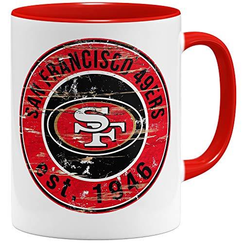 OM3® San Francisco Badge Tasse | Keramik Becher | 11oz 325ml | American Football Mug | Rot