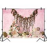 Sndy 5X3Ft 7X5Ft 9X6Ft花の装飾ピンクの壁の写真撮影の背景の背景スタジオの小道具-M