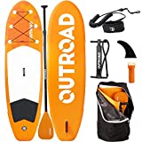 Outroad Water Inflatable Stand Up Paddle Board 10.5 ft SUP 6' Thick w/Bottom Fin, Non-Slip Deck, Adjustable Paddle, Leash, Hand Pump and Carry Backpack, Orange