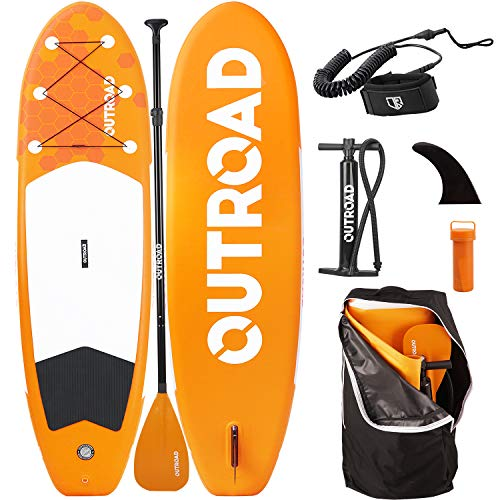 """Outroad Water Inflatable Stand Up Paddle Board 10.5 ft SUP 6"""" Thick w/Bottom Fin, Non-Slip Deck, Adjustable Paddle, Leash, Hand Pump and Carry Backpack, Orange"""
