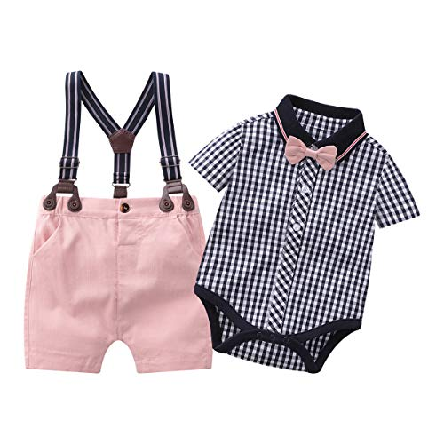 Baby Boys Gentleman Outfits Suits, Infant Short Sleeve Shirt+Bib Pants+ Tie Overalls Clothes Set,9-12M