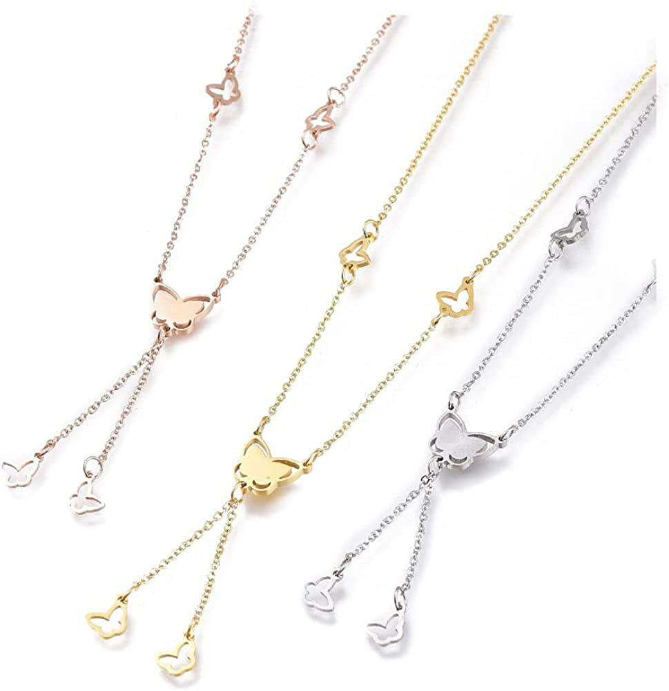 Stainless Steel Butterfly Lariat Necklaces Lobster 16-7/8 inches 43cm Z503