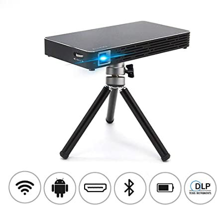 """$248 Get Mini Movie Projector, NEW1 Pocket size Video Projector -Portable Design with 120"""" Picture, Android 7.1, WiFi,DLP, Wireless/Wired Screen Sharing, Compatible with Smartphone, Laptop, for Home Cinema, HD"""