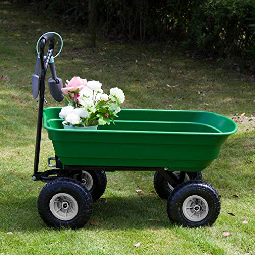 BestMassage Garden Cart Utility Yard Dump Cart Wagon Carrier Wheelbarrow 4 Air Tires with Poly Pulling Wagon 10