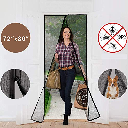 """Magnetic Screen Door Curtains Durable Fiberglass Mesh Full Frame Screens with Velcro and Easy to Install Fit Doors Size Up to 30"""" W X 79"""" H"""