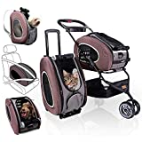 5-in-1 Pet Carrier with Backpack, Pet Carrier Stroller, Shoulder Strap, Carriers with Wheels for Dogs and Cats - Brown