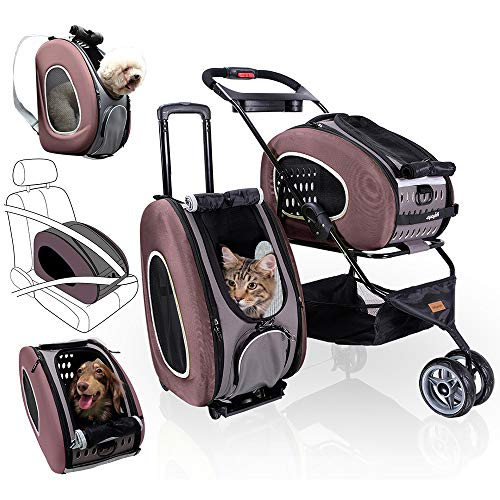 5-in-1 Pet Carrier with Backpack - Brown - Car Seat, Pet Carrier Stroller, Shoulder Strap, Carriers with Wheels for Dogs and Cats - All-in-One Dog and Cat Strollers for Walks, Traveling, Trips