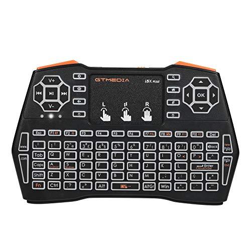 Portugués retroiluminado Mini Teclado inalámbrico Combo de Mouse I8X Plus, Control Remoto USB Teclado Recargable con Panel táctil para Smart TV/Xbox/computadora/Ordenador portátil