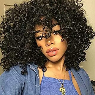 Short Afro Wigs For Black Women Black Afro Curly Wigs with Bangs Synthetic Kinky Curly Hair Wig Heat Resistant Full Wigs (...
