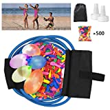 POKONBOY Water Balloon Launcher with 500 Water Balloons, 500 Yards Water Balloon Slingshot/Cannon/Launcher with 2 Refill Kits Fight Pool Party Toy, 3 Person Giant Angry Birds Summer Beach Games