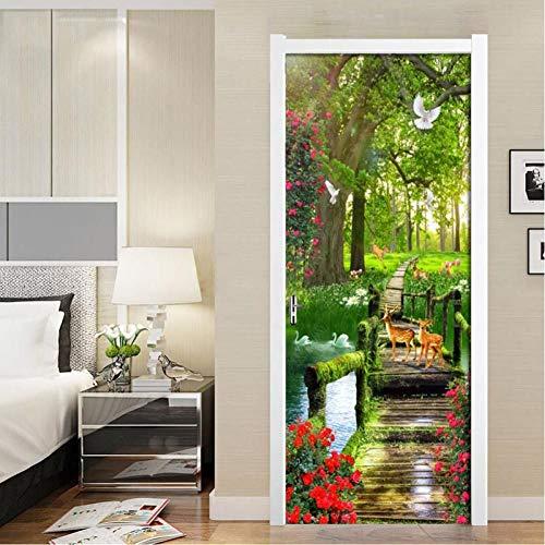 JHYT Green Forest Scenery Pvc Wasserdichte Selbstklebende Türaufkleber Tapete Für Wohnzimmer Schlafzimmer Tür Aufkleber Wandbild Wandaufkleber