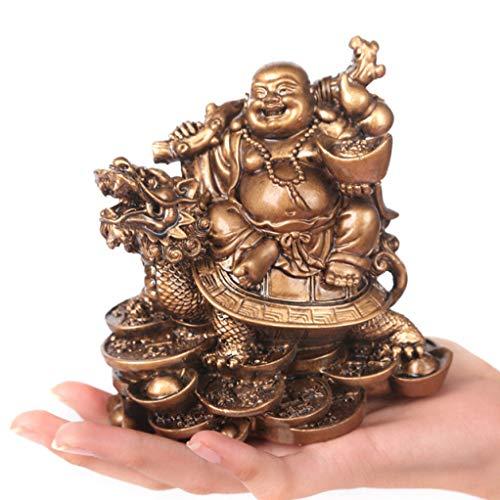 YURASIKU Laughing Buddha Statue for Home Decor Modern Resin Buddha Figurine Sculpture for Office Desk Good Luck Wealth Ornaments Accessories
