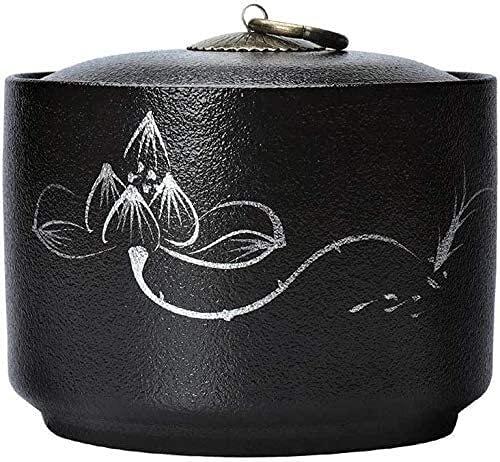 ZNOUSH Grownup Child Cremation Urnes commémorées Urnes d'inhumation, Urn commémoratif de la communauté familiale porté à la Main, urne de crémation en céramique Noire