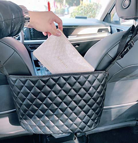 Newlight66 Car Handbag Holder,Seat Back Leather Organizer,Car Net Pocket Handbag Holder for Storage Purse Phone Documents Wallet