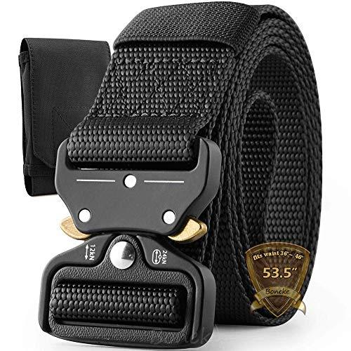 Boneke Cintura Militare, Cintura Regolabile Tattica con Sicurezza Fibbia a sgancio rapido in metallo, large size in Nylon Cintura, per Esecuzione di Esercizi Militari