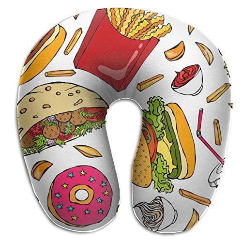 Almohada para el Cuello Burger Cola Cup Paja Papas Fritas Ketchup Almohada de Viaje en Forma de U Diseño ergonómico Contorneado Funda Lavable