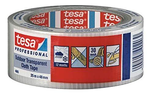 Tesa 4665 stoffen tape met trekker van Pe Standaard, rubber synthetisch, zelfklevend, 210 μm, 25 m x 48 m, transparant, 24 stuks