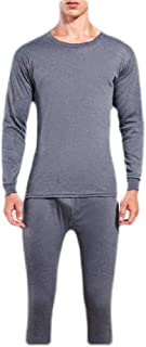Macondoo Mens Crew Neck 2 Piece Base Layer Warm Top & Bottom Sets Long Johns Thermal Underwear