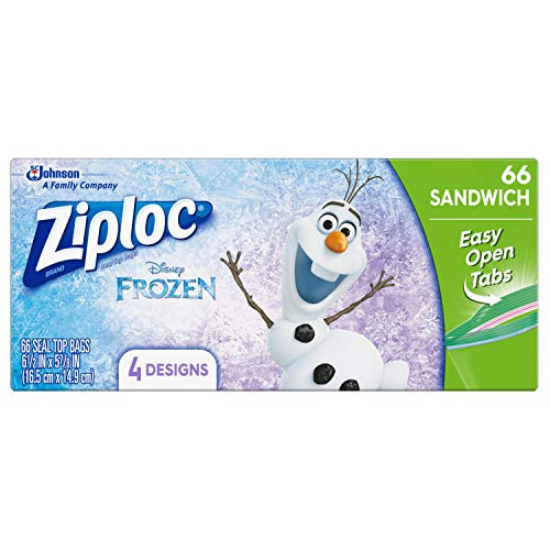 Ziploc Sandwich Bags, Easy Open Tabs, 66 Count- Featuring Disney Frozen Designs