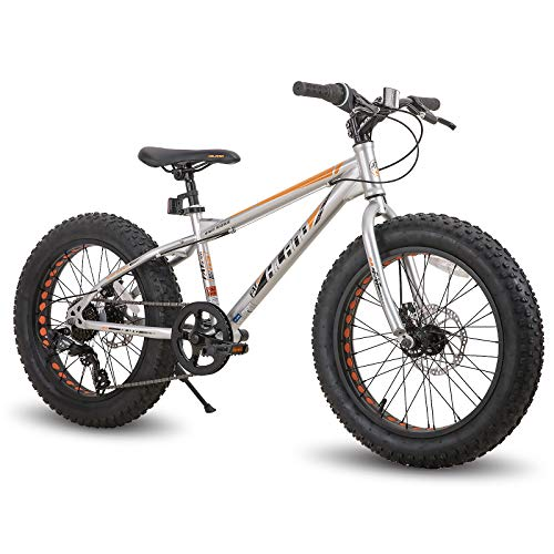 Hiland 20 Inch Kids Fat Tire Mountain Bike 7-Speed MTB Bicycle for Boys Girls Urban Commuter City Bicycle Silver