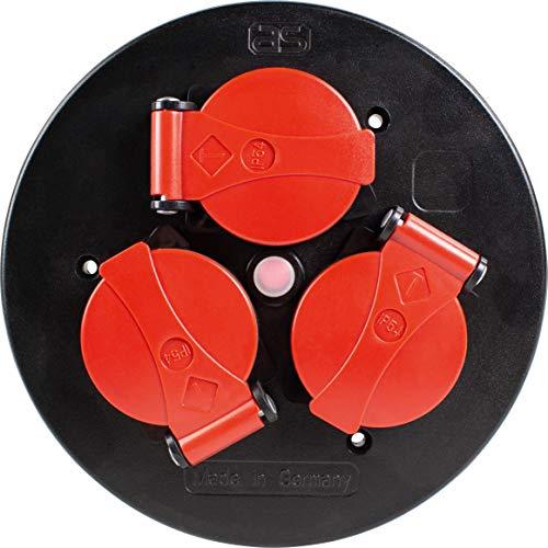 as - Schwabe as 10565 Steckdoseneinsatz 3-Fach, IP44, mit roten Klappdeckeln & Thermoschutzschalter