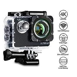 Action Kamera 4K Aoleca 12MP WiFi Action Cam Camera Full HD 30M Wasserdichte Camera 170 ° Weitwinkel Mit 2 Verbesserten Batterien und Zubehör Kits