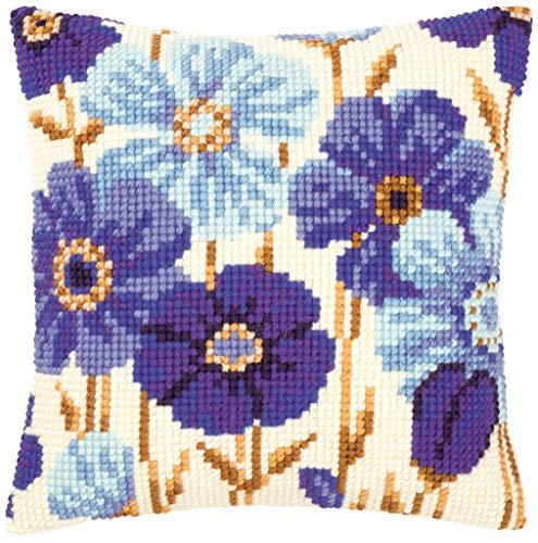 Vervaco Blue Flowers Cross Stitch Cushion, Multi-Colour
