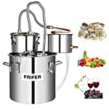 Frifer Moonshine Still, 5 Gallon 18 L Alcohol Distiller Copper Tube, Moonshine Still Kit Complete with Thumper, Home Brewing Kit Build-In Thermometer for DIY Whisky Wine Brandy, Stainless Steel