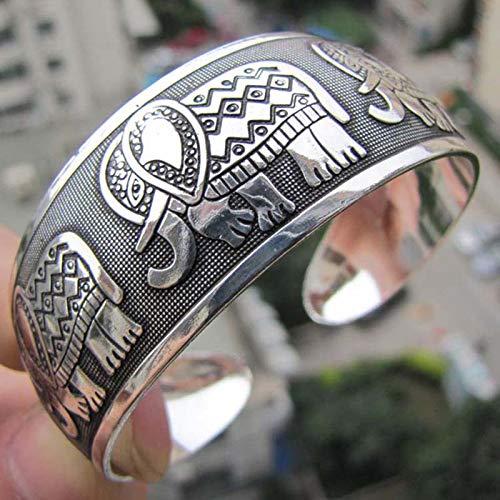 BraveWind 5 Stks Olifant Tibetaanse Tibet Zilver Totem Bangle Manchet Armband