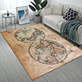 Ormis Area Rug Print with Old Stained World Map,Modern Flannel Microfiber Non-Slip Floor Mat Carpet,5'x7'