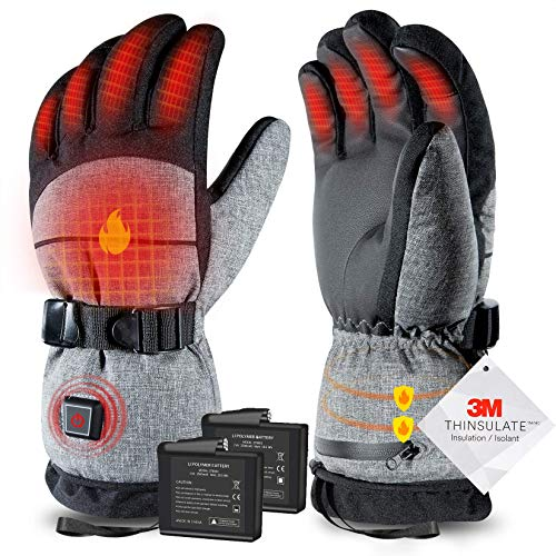 ZEROFIRE Heated Gloves with Rechargeable Battery for Men Women, Electric Heated Waterproof Ski Snowboard Gloves with 3M Thinsulate Insulated for Cold Weather,Works Time 3-7Hours