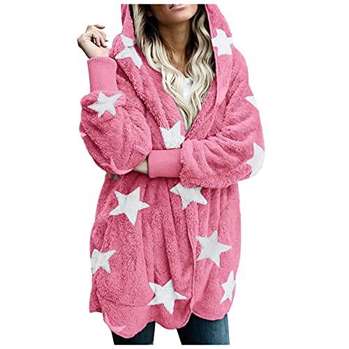 Vexiangni Abrigo de felpa para mujer, chaqueta de invierno de manga larga, chaqueta de peluche, chaqueta de invierno para mujer, con cremallera suelta, forro polar, chaqueta de invierno con capucha