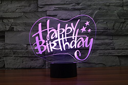 Optische illusie 3D verjaardagskaart nachtlicht 7 kleuren Ander Sich USB-adapter Touch Schakelaar Decor Lamp LED Lamp Tafel Kids Brithday kerstcadeau