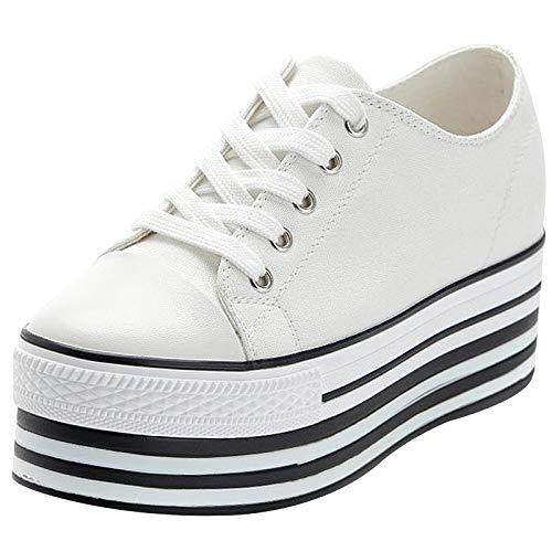Jamron Mujer Suela Doble Plataforma Alta Zapatos de Lona Tacón de Cuña Baja con Cordones Enredaderas Zapatillas de Deporte de Moda Blanco 627-1 EU36