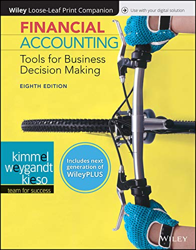 Compare Textbook Prices for Financial Accounting: Tools for Business Decision Making, 8e WileyPLUS next generation + Loose-leaf 8 Edition ISBN 9781119491057 by Kimmel, Paul D.,Weygandt, Jerry J.,Kieso, Donald E.