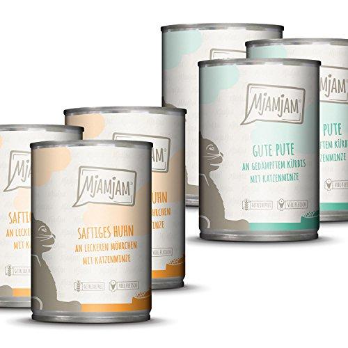 MjAMjAM - Premium Nassfutter für Katzen - Monopaket 1 - mit Huhn und Pute, 6er Pack (6 x 400 g), getreidefrei mit extra viel Fleisch